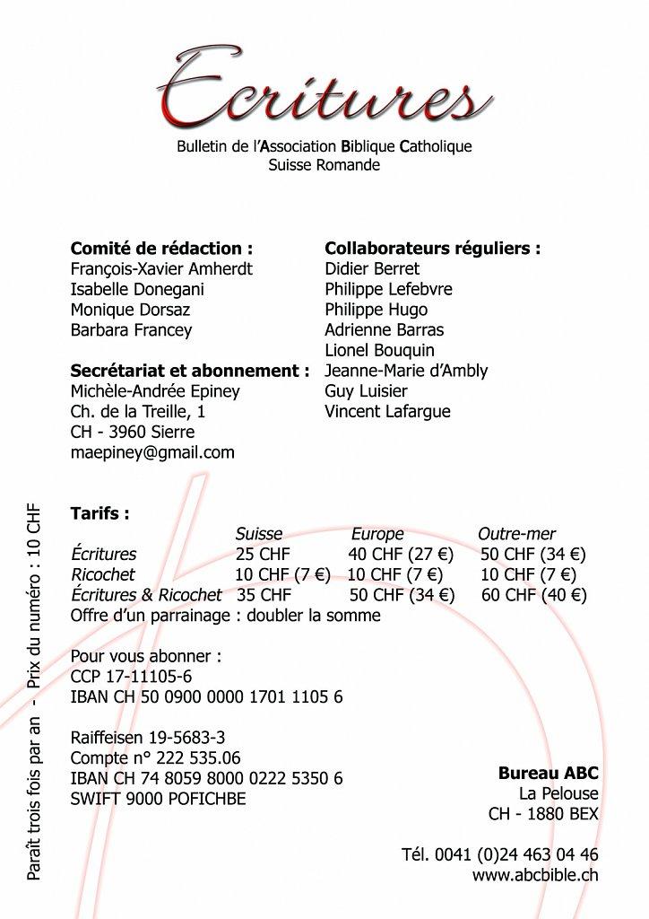 """Brochure """"Ecritures"""" éditée par ABC (couverture verso)"""